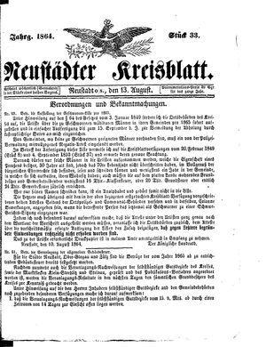 Neustädter Kreisblatt vom 13.08.1864