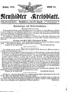 Neustädter Kreisblatt vom 20.08.1864