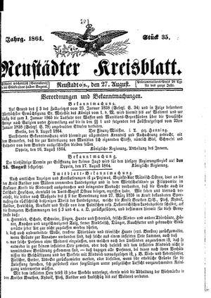 Neustädter Kreisblatt vom 27.08.1864