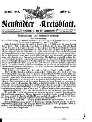 Neustädter Kreisblatt vom 10.09.1864