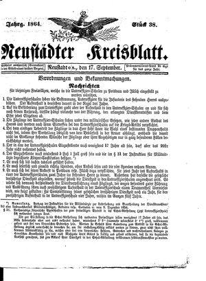 Neustädter Kreisblatt vom 17.09.1864