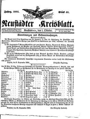 Neustädter Kreisblatt vom 01.10.1864