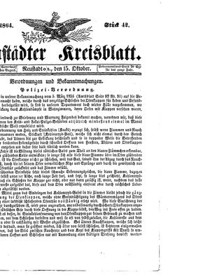 Neustädter Kreisblatt vom 15.10.1864