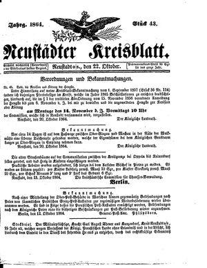 Neustädter Kreisblatt vom 22.10.1864
