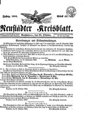 Neustädter Kreisblatt vom 29.10.1864