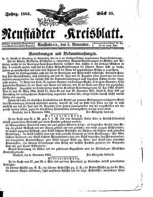 Neustädter Kreisblatt vom 05.11.1864
