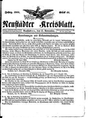 Neustädter Kreisblatt vom 13.11.1864