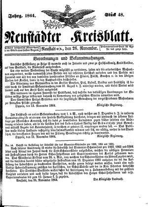 Neustädter Kreisblatt vom 26.11.1864