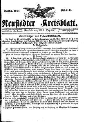 Neustädter Kreisblatt vom 03.12.1864