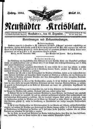 Neustädter Kreisblatt vom 10.12.1864