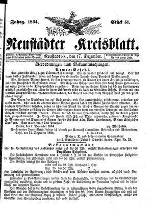 Neustädter Kreisblatt on Dec 17, 1864