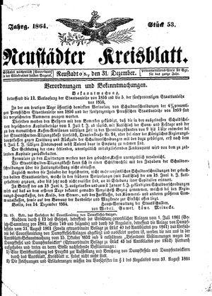 Neustädter Kreisblatt vom 31.12.1864