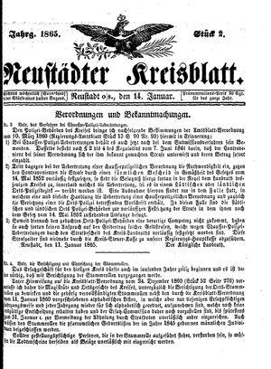 Neustädter Kreisblatt vom 14.01.1865