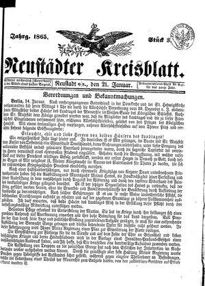 Neustädter Kreisblatt vom 21.01.1865