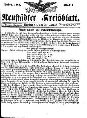 Neustädter Kreisblatt vom 28.01.1865