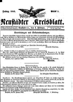 Neustädter Kreisblatt vom 04.02.1865