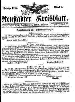 Neustädter Kreisblatt vom 11.02.1865