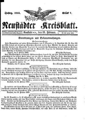 Neustädter Kreisblatt vom 18.02.1865