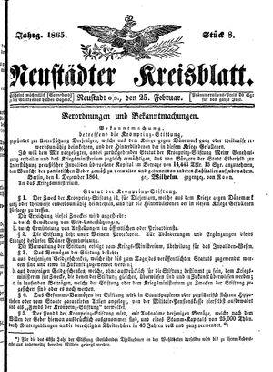 Neustädter Kreisblatt vom 25.02.1865