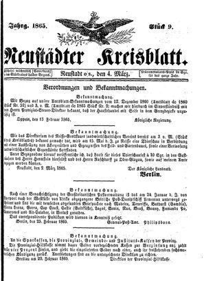 Neustädter Kreisblatt vom 04.03.1865