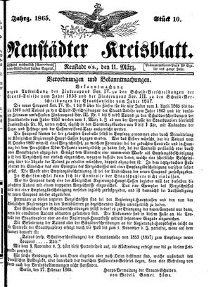 Neustädter Kreisblatt on Mar 11, 1865