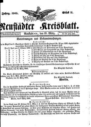 Neustädter Kreisblatt vom 18.03.1865