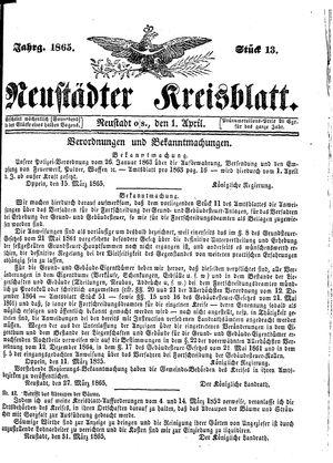 Neustädter Kreisblatt vom 01.04.1865