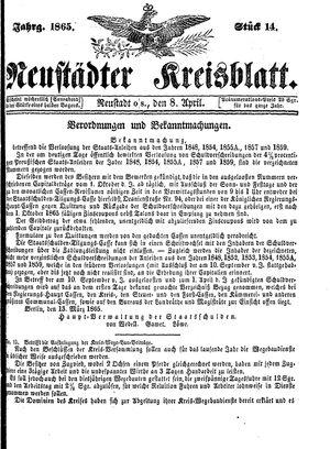 Neustädter Kreisblatt vom 08.04.1865