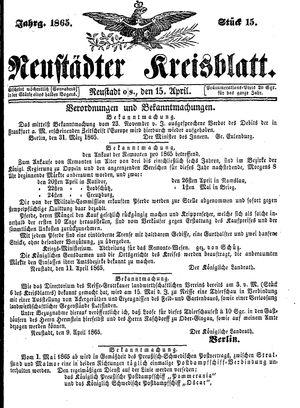 Neustädter Kreisblatt vom 15.04.1865