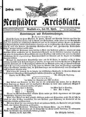 Neustädter Kreisblatt vom 22.04.1865