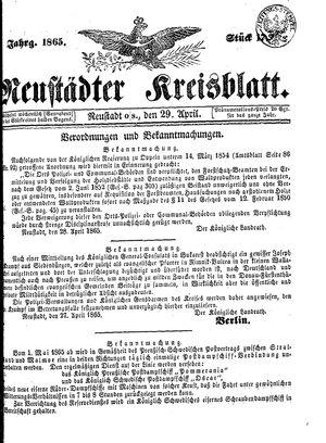 Neustädter Kreisblatt vom 29.04.1865