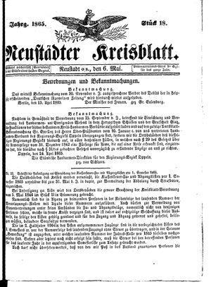 Neustädter Kreisblatt vom 06.05.1865