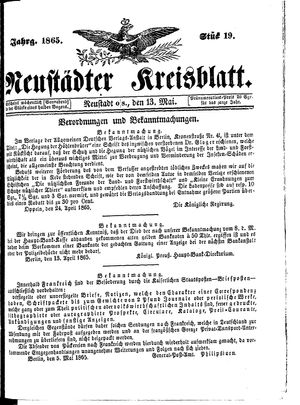 Neustädter Kreisblatt vom 13.05.1865