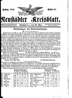Neustädter Kreisblatt vom 20.05.1865