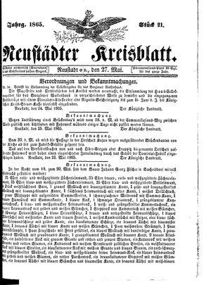 Neustädter Kreisblatt vom 27.05.1865
