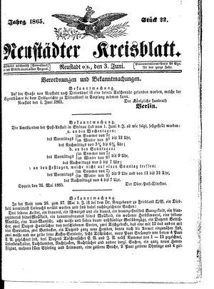 Neustädter Kreisblatt vom 03.06.1865