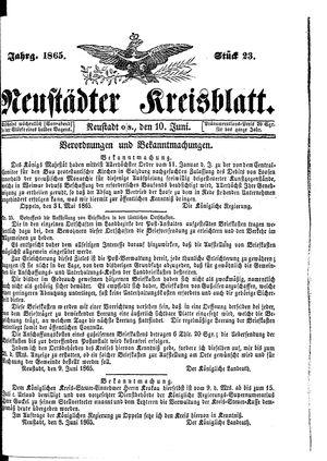 Neustädter Kreisblatt vom 10.06.1865