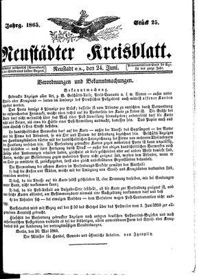 Neustädter Kreisblatt on Jun 24, 1865