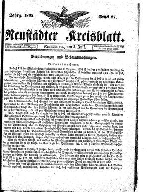 Neustädter Kreisblatt vom 08.07.1865
