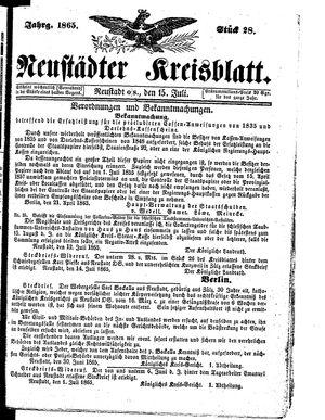 Neustädter Kreisblatt vom 15.07.1865