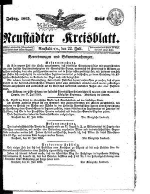 Neustädter Kreisblatt vom 22.07.1865