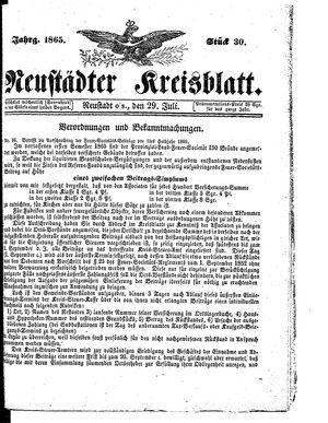 Neustädter Kreisblatt vom 29.07.1865