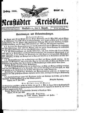 Neustädter Kreisblatt vom 05.08.1865