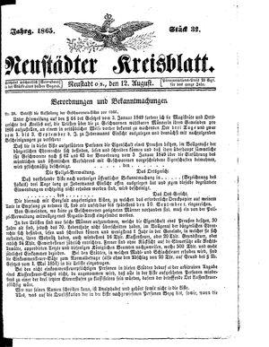 Neustädter Kreisblatt vom 12.08.1865