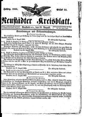 Neustädter Kreisblatt vom 19.08.1865