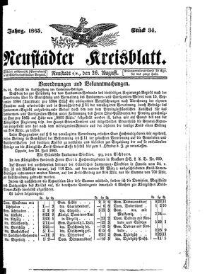 Neustädter Kreisblatt vom 26.08.1865