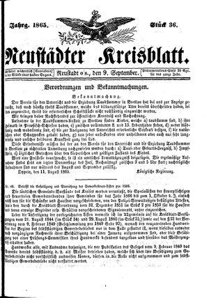 Neustädter Kreisblatt vom 09.09.1865