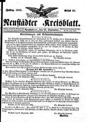 Neustädter Kreisblatt (23.09.1865)