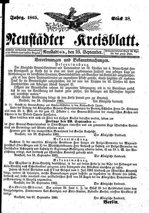 Neustädter Kreisblatt vom 23.09.1865