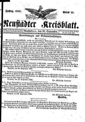 Neustädter Kreisblatt vom 30.09.1865